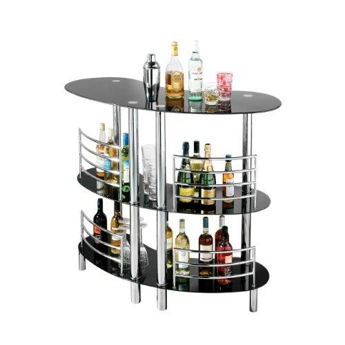 Premier Housewares 2401384 Tavolino da Bar, 3 Ripiani in Vetro Nero e Struttura Cromata, 107x120x57 cm, Curvo