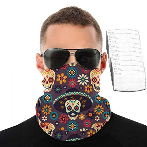 Sugar Skulls and Flowers Bandana Cloth Face Mask Washable Face Covering Neck Gaiter Dust Mask
