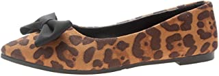 Ballet Flat Shoes for Women - WEUIE Bowknot Leopard Pointed Toe Ballerina Flats Faux Suede Slip On Loafers