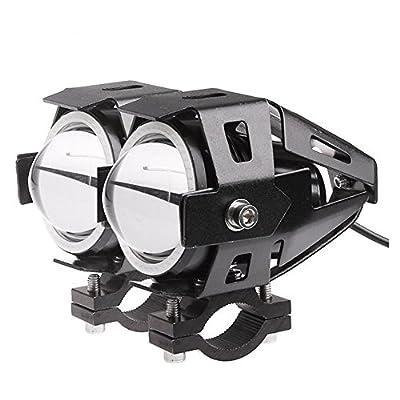 ALLOMN CREE U7 Motorcycle LED Headlight, 2 Pack Driving DRL Fog Light-Spotlight with White Angle Eyes Light Ring, 3 Modes High/Low/ Strobe