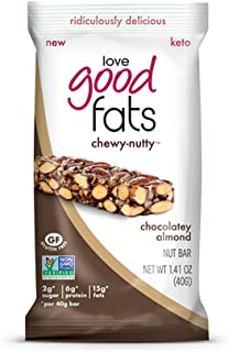 Love Good Fats - Chewy-Nutty Chocolatey Almond Keto Bars - Vegan Protein Bars with Natural Ingredients - Gluten-Free, Low Carb Ketogenic Bar with 9g of Protein and Coconut Oil - 12 Count (39g Bars)