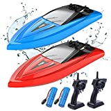 Kidfavor H116 RC Boat 2 Pack-Remote Control Boats for Adults Kids Pools and Lakes Boys Electric Radio Controlled Watercraft Toys Waterproof, 2.4Ghz, 4 Channel, Outdoor Play Summer Gifts for Toddlers