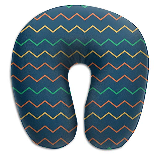 DuanYuanZhi Pattern Zig Zag Colorful Zigzag U Shape Neck Pillow Ergonomic Portable Travel Airplane Train Pillow Stuffed Head Cushion Cervical Neck Pillow