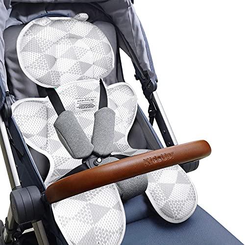 Luchild Atmungsaktive Sitzeinlage Universal Sommer Sitzauflage für Kinderwagen, Buggy, Kindersitz und Babyschale - Kühlt und schützt den Sitzbezug vor Flecken (Grau Dick)