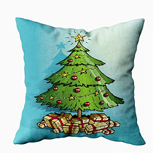 NIANPU Decorative Pillow Covers, Deer Pillow Cover Green Christmas Tree Decorated in Gold Stars Red and with Lots of Presents for Sofa Home Farmhouse Pillow Covers 18X18Inch Pillow Covers