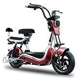 COKECO Scooter Eléctrico 25 Km/h Velocidad Bicicleta Eléctrica 48V350W Motor Alta Velocidad Batería para Adultos Coche 20AH Batería Bicicleta Eléctrica 14 Pulgadas Luz LED Macho Y Hembra