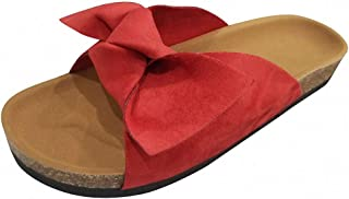 Tinpia Womens Slippers Bow Slippers Women Lady Bow Tie Flat Thick Shoes Soft Bottom Heel Sandals Slipper Rome Women Beach Summer Shoes