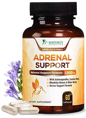 Adrenal Support and Stress Support 1300mg - Extra Strength Stress Support and Adrenal Fatigue Support Supplement - Ashwagandha, Licorice Root, Rhodiola Rosea and Other Herbs, Non-GMO - 60 Capsules