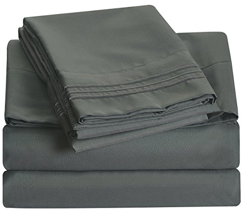 Bluedotsky Bedding Microfiber Sheet Set- 4 Pc - Cal. King - Grey/Charcoal