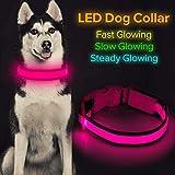 Iseen Collar de perro LED micro USB recargable con luz brillante para mascotas, cómodo collar de malla suave para perros pequeños, medianos y grandes (L, rosa)
