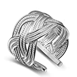 Nikgic 1 anillo trenzado de plata ajustable anillo abierto para mujer accesorios de joyería
