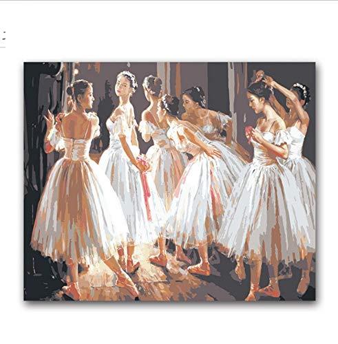YUUWO dansen ballet meisjes figuur schilderen kleuren door nummers Ballerina op canvas tekenen foto's door cijfers voor dans klaslokaal decor 40x50cm framless