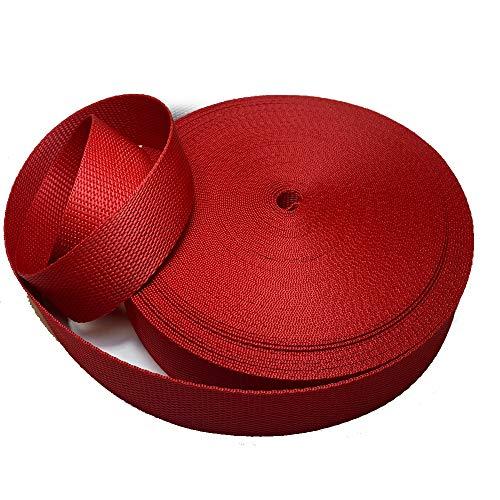 Cinta nylon polipropileno de 3 cm y 25metros para mochilas, riñoneras, cinturones (rojo)