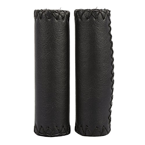 Vbestlife Bicycle Retro Artificial Leather Handle Grips Cycling MTB Road Mountain Bike Handlebar Grips (Black)