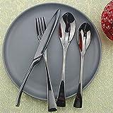 XKMY Juego de 4/8/20 piezas de vajilla negra con espejo, cuchara de postre, tenedor, cubertería, cubiertos de acero inoxidable, accesorios para fiestas (color: 1 juego de 4 piezas)