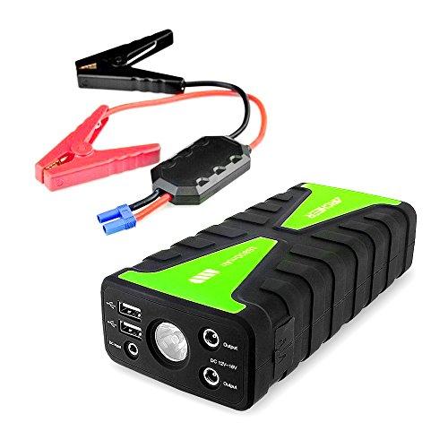 Auto Jump Starter, Archeer 800A Spitzenstrom 16800mAh Auto Starthilfe Akku/ Power Bank Ladegerät mit Eingebaute LED Taschenlampe für Smartphone Tablet und Weitere Mobilgeräte ( mit 1A und 2.1A USB Ladeanschluss )