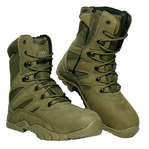 Inconnu Chaussures Airsoft Montantes Tactiques Cuir Vert (42)