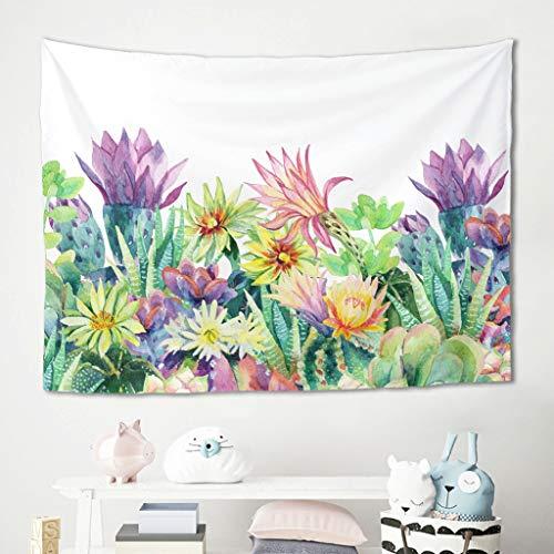 Niersensea Tapiz de pared para colgar en la pared, diseño de acuarela, flores, cactus, picnic, playa, meditación, yoga, colchoneta para la habitación de los niños, manta blanca 230 x 150 cm