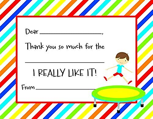 20 Jumping Trampoline Boy Kids Fill-in Birthday Thank You Cards by MyExpression