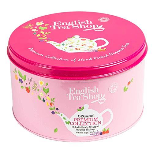 "English Tea Shop - Runde Tee-Geschenkdose aus Metall ""Premium Tea Selection (Pink)"" mit 30 BIO-Tees in Pyramidenbeutel"