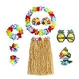 N 8 Piezas Fiesta Hawaiana Disfraces, Falda de Hula, Cadena de Flores, Pulseras de Flores, Sujetador de Flores, Flor de Pelo, Gafas de Sol de piña, para la decoración de la Fiesta de Playa
