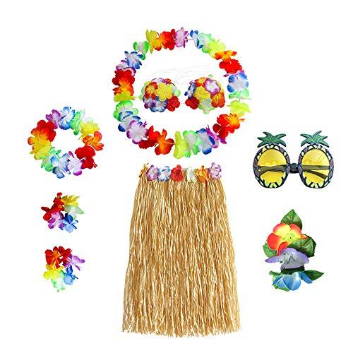 N 8 Piezas Fiesta Hawaiana Disfraces, Falda de Hula, Cadena
