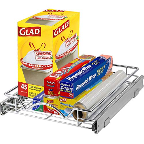"Richards Homewares Pull Out Drawer Cabinet Organizer – SlideOut Pots and Pans Sliding Shelf - Chrome One Tier 14'W x 18' D x 3.2""H, Requires At Least 15"" Opening"