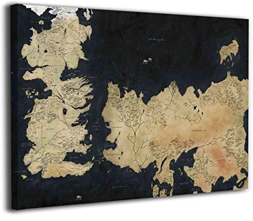 Game of Thrones Map of Westeros and Essos TV Show Cool Wall Decor Art Print Poster Home Decor Frameless (30x40cm)