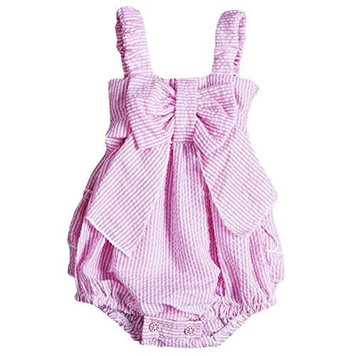 Charm Kingdom Baby Girls Striped Seersucker Bubble Straps Ruffle Layers Bowknot Romper (70(0-6M)) Pink