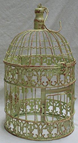 Moritz® Vaso a Forma di Gabbia Gabbia Deko Gabbia Gabbia per Uccelli Uccello Coppia Shabby Antico Antico Stile Giallo Verde