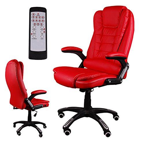 Giosedio BSB Masaje Silla giratoria de Oficina Silla de Escritorio Lujoso Recubrimiento de PU Reposabrazos, Mecanismo de reclinación hasta 150º (Rojo)