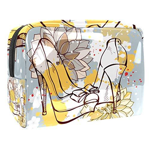 Bolsa de maquillaje portátil con cremallera bolsa de aseo de viaje para mujeres práctico almacenamiento cosmético bolsa zapatos y belleza de flores