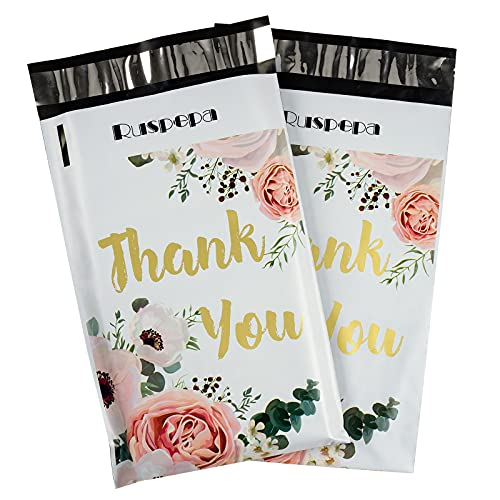 RUSPEPA 6x9 inches Poly Mailers Shipping Bags Thank You Notes Flowers Surrounded White Poly Mailers 2.3 Mil Heavy Duty Self Seal Mailing Envelopes - 100 Pack