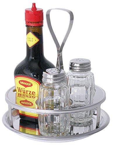 Menage, 3-teilig, aus Edelstahl 18/0, für Salz & Pfeffer, sowie für die handelsübliche 125 g Maggi-Flasche/Ø dia. 13,5 cm, Höhe: 14 cm | ERK