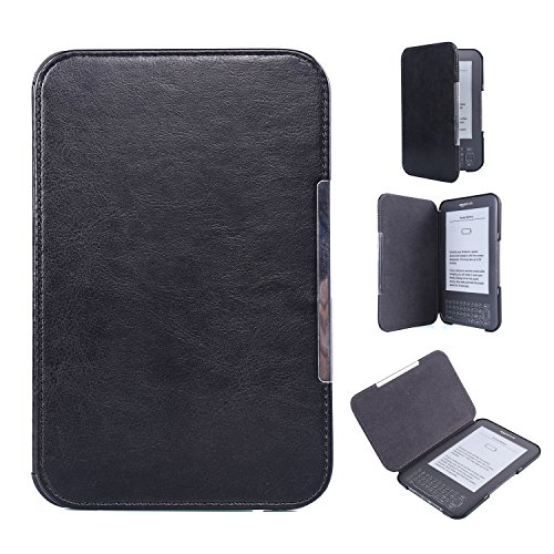 Kindle Keyboard PU Leather Case  Cover Book Style for Amazon Kindle 3rd Generation (2010) with Keyboard & 6' Display Black