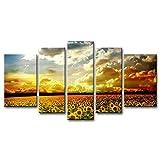 5 Panel amarillo naranja pared arte pintura hermosa flor de fondo amarillo girasoles colorido cielo Golden Sunset fotos Prints en lienzo la imagen Decor aceite para decoración de hogar moderno