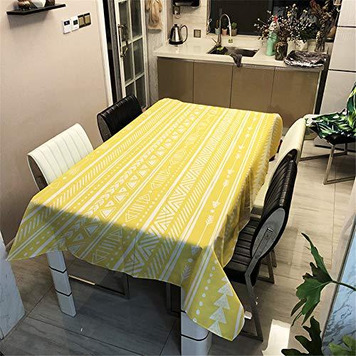 Hiser Mantel Antimanchas Rectangular para Mesa de Cocina o Salón, 3D Poliéster Impermeable Lavable Diseño Decoración Hogar Calor y Humedad Resistencia (Amarillo,100x140cm)