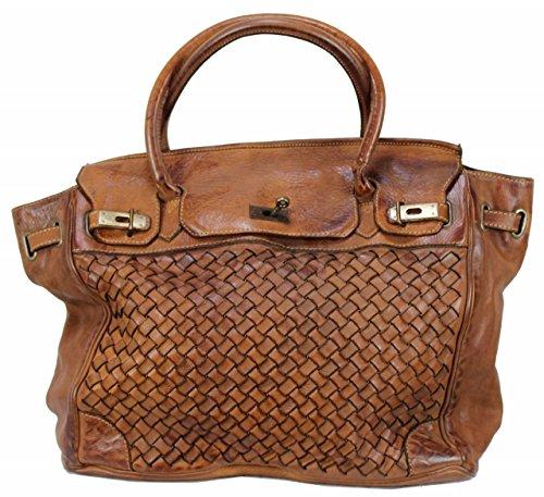 BOZANA Bag Lara cognac Italy Designer Damen Handtasche Schultertasche Tasche Leder Shopper Neu