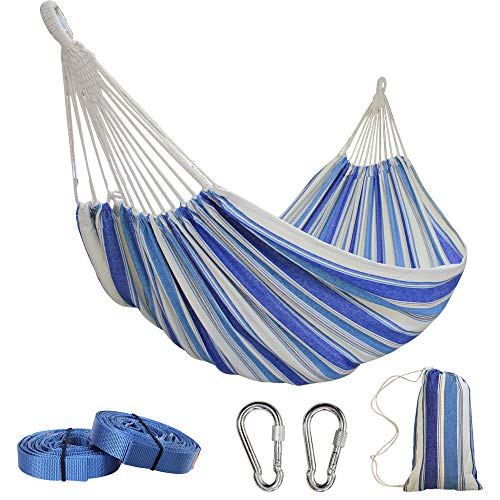 PIRNY Large Double Cotton HammockHanging Swing BedUp to 500 Lbsincude 20 ft of Tree Swing Straps and 2 Carabinerfor Indoor Outdoor Garden Patio Park PorchDouble Navy Blue Stripes