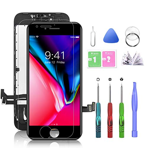 Compatible with iPhone 8 Screen Replacement Black 4.7 Inch LCD Display with 3D Touch Screen Digitizer Frame Display Full Assembly Include Full Free Repair Tool Kits
