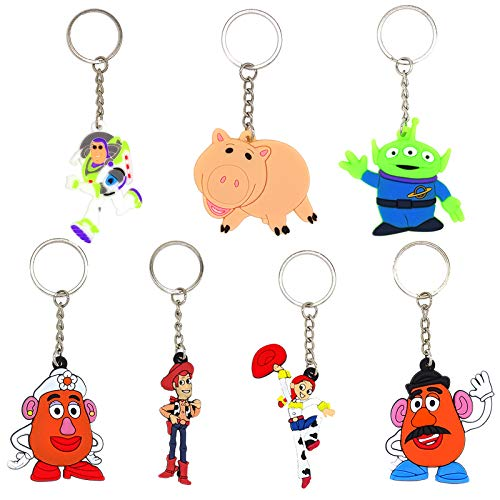 Howell 28 Piece Toy Story Keychains Party Favors Boys Girls Kids Birthday Party Supplies Party Bag Pendant, Gift Fillers, Key Tags, Goodie Bag Stuffer, Holiday Charms Suppliers - Woody, Jessie, Alien, Mr. /Mrs.Potato Head, Hamm, Buzz Lightyear Keychain, School Carnival Reward, Toy Story Keychain for Backpack