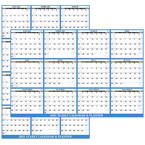 2021 Yearly Wall Calendar - 2021 Dry Erase Calendar with Julian Date, Jan. - Dec. 2021, Thick Paper,...