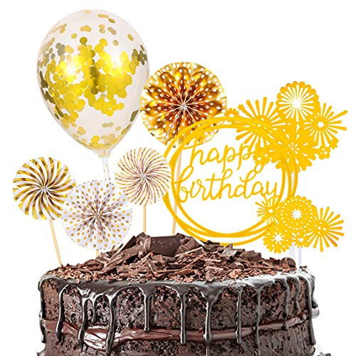 SUSSURRO Happy Birthday Tortendeko Sterne Cake Topper Kuchendeko Geburtstag Dekoration (Golden)