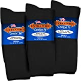 Extra Wide Comfort Fit Athletic Crew (Mid-Calf) Socks for Men and Women, Pick your size, Do not size up (Small, Small - Black)