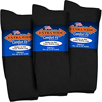 Extra Wide Comfort Fit Athletic Crew  Mid-Calf  Socks for Men and Women Pick your size Do not size up  Small Small - Black