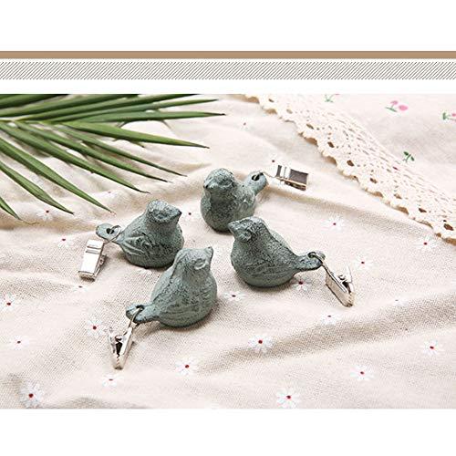 Watenkliy 4X Tischdeckenbeschwerer Clip, VögelTischdeckenklammern Gusseisen Anhänger Winddichter für Tischdecke Gartentisch Tischtuchgewichte Tischtuchbommeln