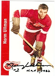 Autograph Warehouse 43324 Norm Ullman Autographed Hockey Card Detroit Red Wings Parkhurst 1956 No .45 1990 Edition Inscribed Hof 1982