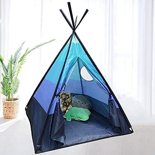 Tipi Infantil Tipi Indio para ninos de Poliéster Tienda Campaña Portátil para Interiores y Exteriores,110x110x152 cm (Azul)