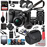 Sony Alpha a6000 Mirrorless Camera with 16-50mm and 55-210mm Lenses Bundle + Extreme Speed 64GB Memory + (31 Items)