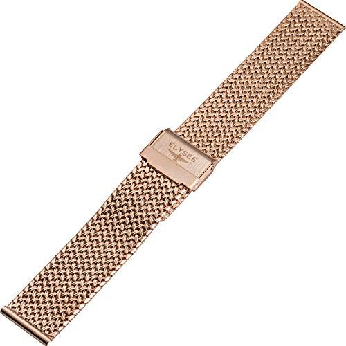Elysee Uhrenarmband - Feingliedriges Milanaise-Armband aus rosévergoldetem Edelstahl mit Sicherheits